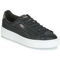 鞋子 女士 球鞋基本款 Puma 彪馬 WN SUEDE PLATFM OPULENT.BL 黑色