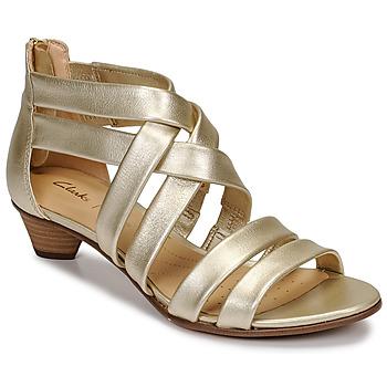 鞋子 女士 凉鞋 Clarks 其乐 MENA SILK 香槟色