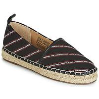 鞋子 女士 帆布便鞋 KARL LAGERFELD KAMINI STRIPE LOGO SLIP 黑色