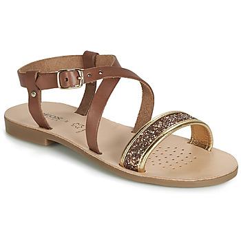 鞋子 女孩 涼鞋 Geox 健樂士 J SANDAL VIOLETTE GI 棕色