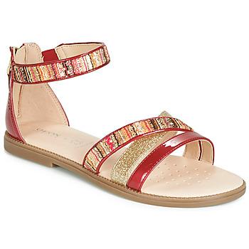鞋子 女孩 凉鞋 Geox 健乐士 J SANDAL KARLY GIRL 红色 / 金色