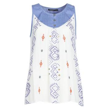 衣服 女士 無領短袖套衫/無袖T恤 Desigual MEKANE 白色 / 藍色