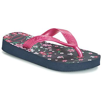 鞋子 女孩 人字拖 Havaianas 哈瓦那 KIDS FLORES 海藍色 / 玫瑰色