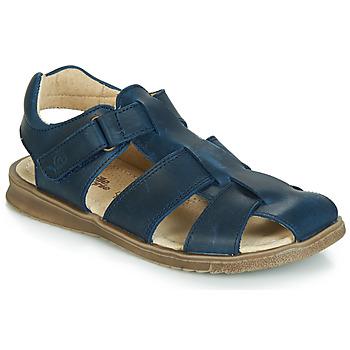 鞋子 男孩 凉鞋 Citrouille et Compagnie JALIDOU 蓝色 / Fonce
