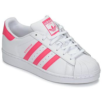 鞋子 女孩 球鞋基本款 Adidas Originals 阿迪達斯三葉草 SUPERSTAR J 白色 / 玫瑰色