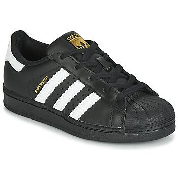 鞋子 儿童 球鞋基本款 Adidas Originals 阿迪达斯三叶草 SUPERSTAR C 黑色 / 白色