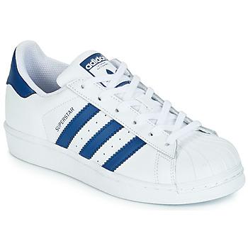 鞋子 兒童 球鞋基本款 Adidas Originals 阿迪達斯三葉草 SUPERSTAR J 白色 / 藍色