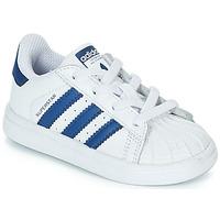 鞋子 儿童 球鞋基本款 Adidas Originals 阿迪达斯三叶草 SUPERSTAR EL 白色 / 蓝色