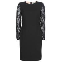 衣服 女士 短裙 Lauren Ralph Lauren LACE PANEL JERSEY DRESS 黑色