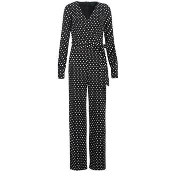衣服 女士 连体衣/连体裤 Lauren Ralph Lauren POLKA DOT WIDE LEG JUMPSUIT 黑色 / 白色
