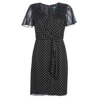 衣服 女士 短裙 Lauren Ralph Lauren POLKA DOT-SHORT SLEEVE-DAY DRESS 黑色