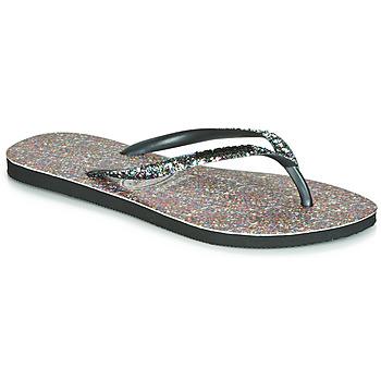 鞋子 女士 人字拖 Havaianas 哈瓦那 SLIM CARNAVAL 黑色