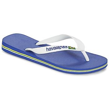 鞋子 人字拖 Havaianas 哈瓦那 BRASIL LOGO 白色 / 海蓝色