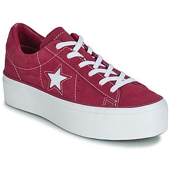 鞋子 女士 球鞋基本款 Converse 匡威 ONE STAR PLATFORM SUEDE OX 紫红色 / 白色