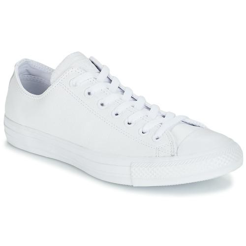 鞋子 球鞋基本款 Converse 匡威 ALL STAR MONOCHROME CUIR OX 白色