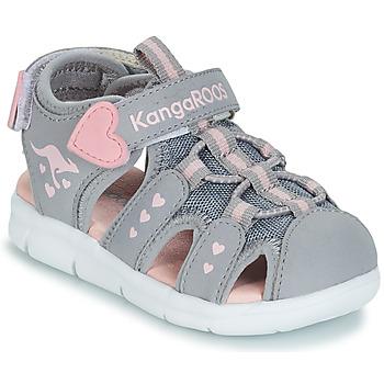 鞋子 女孩 涼鞋 Kangaroos K-MINI 灰色 / 玫瑰色