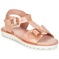 鞋子 女孩 涼鞋 Kickers ISABELA 玫瑰色 / 金屬銀