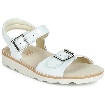 鞋子 女孩 涼鞋 Clarks 其樂 Crown Bloom K 白色