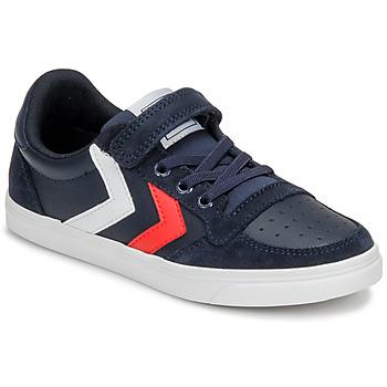 鞋子 儿童 球鞋基本款 Hummel SLIMMER STADIL LEATHER LOW JR 蓝色