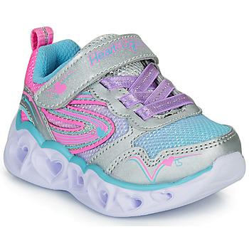 鞋子 女孩 球鞋基本款 Skechers 斯凯奇 HEART LIGHTS 银灰色 / 玫瑰色 / Led