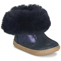 鞋子 女孩 短筒靴 SHOO POM by Pom d'Api BOUBA FUR BOOTS 海蓝色