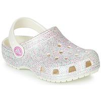 鞋子 女孩 洞洞鞋/圆头拖鞋 crocs 卡骆驰 CLASSIC GLITTER CLOG K 白色
