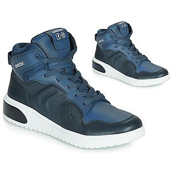 鞋子 男孩 高幫鞋 Geox 健樂士 J XLED BOY 藍色 / Led