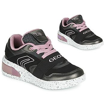 鞋子 女孩 高幫鞋 Geox 健樂士 J XLED GIRL 黑色 / 玫瑰色 / Led