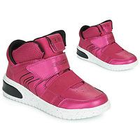 鞋子 女孩 高幫鞋 Geox 健樂士 J XLED GIRL 玫瑰色 / 紫紅色 / 黑色 / Led
