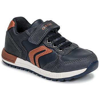 鞋子 男孩 球鞋基本款 Geox 健樂士 B ALBEN BOY 藍色 / 棕色