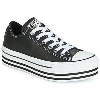 鞋子 女士 球鞋基本款 Converse 匡威 CHUCK TAYLOR ALL STAR LAYER BOTTOM LEATHER OX 黑色 / 白色 / 黑色