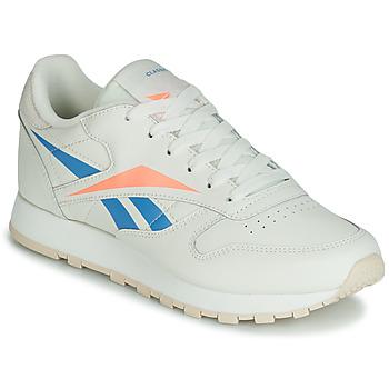 鞋子 女士 球鞋基本款 Reebok Classic CL LTHR 米色 / 蓝色 / 橙色