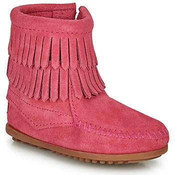 鞋子 女孩 短筒靴 Minnetonka DOUBLE FRINGE SIDE ZIP BOOT 玫瑰色