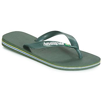 鞋子 人字拖 Havaianas 哈瓦那 BRASIL LOGO 橄榄色