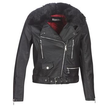 衣服 女士 皮夹克/ 人造皮革夹克 Molly Bracken HA006A21 黑色