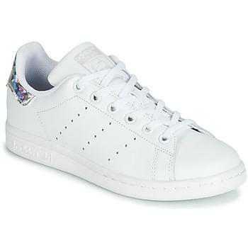 鞋子 女孩 球鞋基本款 Adidas Originals 阿迪达斯三叶草 STAN SMITH J 白色 / 银灰色