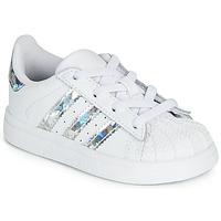 鞋子 女孩 球鞋基本款 Adidas Originals 阿迪达斯三叶草 SUPERSTAR EL I 白色 / 银灰色