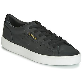 鞋子 女士 球鞋基本款 Adidas Originals 阿迪达斯三叶草 SLEEK W 黑色