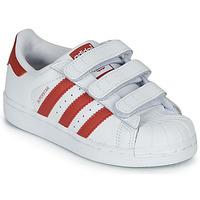 鞋子 兒童 球鞋基本款 Adidas Originals 阿迪達斯三葉草 SUPERSTAR CF C 白色 / 紅色
