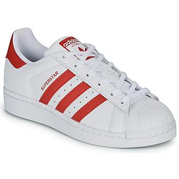 鞋子 兒童 球鞋基本款 Adidas Originals 阿迪達斯三葉草 SUPERSTAR J 白色 / 紅色