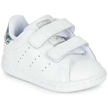 鞋子 女孩 球鞋基本款 Adidas Originals 阿迪达斯三叶草 STAN SMITH CF I 白色 / 银色