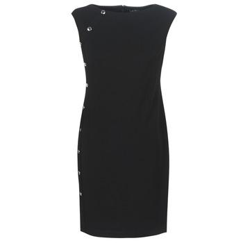 衣服 女士 短裙 Lauren Ralph Lauren BUTTON-TRIM CREPE DRESS 黑色