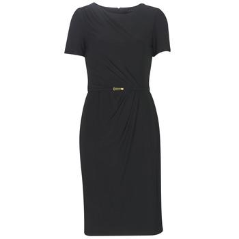 衣服 女士 长裙 Lauren Ralph Lauren BELTED SHORT SLEEVE DRESS 黑色