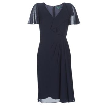 衣服 女士 長裙 Lauren Ralph Lauren CUTLER CAP SLEEVE DAY DRESS 海藍色