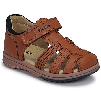 鞋子 男孩 凉鞋 Kickers PLATIBACK 棕色