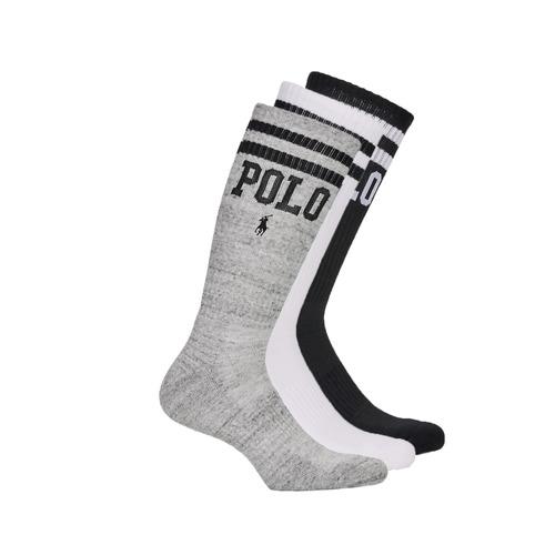 配件 男士 短筒袜 Polo Ralph Lauren 3PK DBLE BAR-CREW-3 PACK 白色 / 灰色 / 黑色