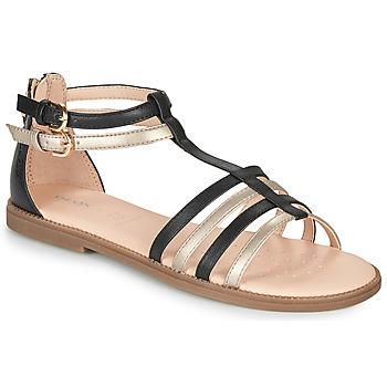 鞋子 女孩 凉鞋 Geox 健乐士 SANDAL KARLY GIRL 黑色 / 金色