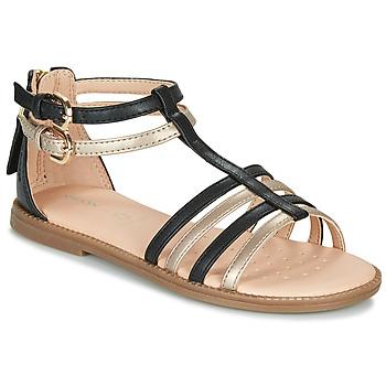 鞋子 女孩 凉鞋 Geox 健乐士 J SANDAL KARLY GIRL 黑色 / 金色