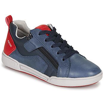 鞋子 男孩 球鞋基本款 Geox 健乐士 J POSEIDO BOY 海蓝色 / 红色