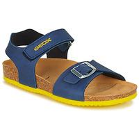 鞋子 男孩 涼鞋 Geox 健樂士 J GHITA BOY 藍色 / 黃色